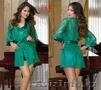 Зеленый кружевной халат с пеньюаром